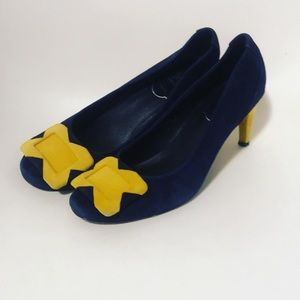Roger vivier sz 38 navy suede and yellow